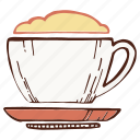 coffee, cup, foam, mug icon