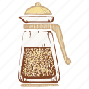 frenchpress, glass coffee pot, kettle, teapot icon