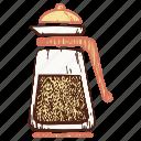 frenchpress, glass coffee pot, kettle, teapot icon