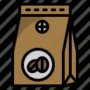 arabica, coffee shop, coffee bag, shop, bean icon