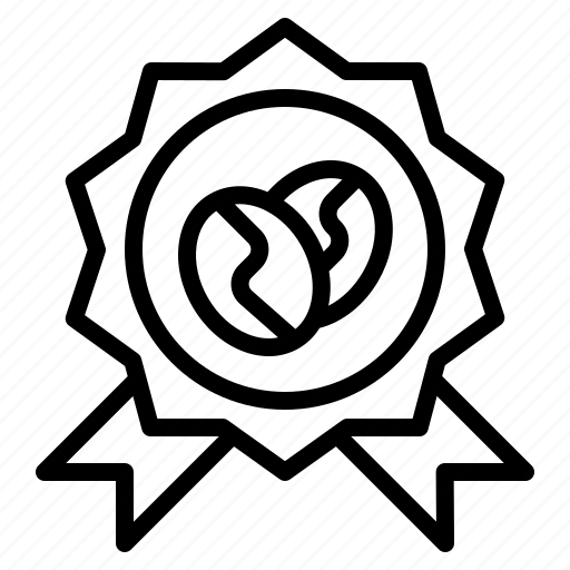 badges, certificate, coffee, genuine, guarantee, premium, quality icon