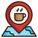 coffee, location, map, navigation, pin, place, travel