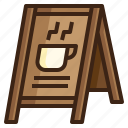 board, cafe, coffee, menu, shop, signaling, stand icon