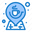 coffee, cup, direction, location, map