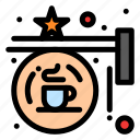 board, coffee, hanging, shop, sign icon