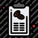 bill, coffee, hand, list, menu icon