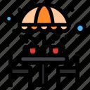 chair, coffee, furniture, table, umbrella