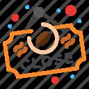 board, close, coffee, sign icon