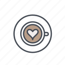 artisan coffee, coffee, cup, heart shape, latte, latte art icon