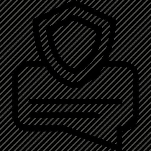 chat security concept, communication defense, communication shield, confidential talk, secret chat icon