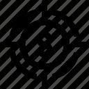 coin, coin icon, money, target, target icon icon