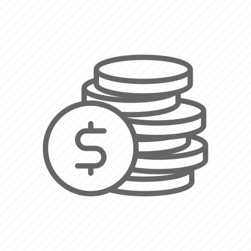 cash, coin, dollar, finance, line, money, stack icon