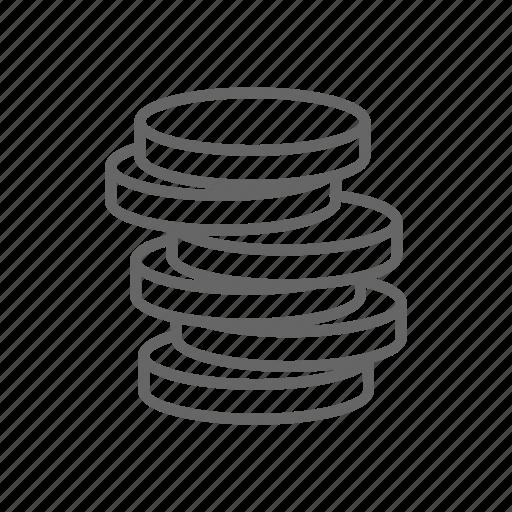 cash, coin, dollar, finance, line, money, stack icon