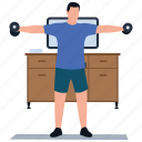 athlete, bicep muscle, bodybuilding, functional training, muscle exercise, strength training icon