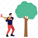 deforestation, loger ecology, lumber, wood cutter, wood cutting icon