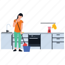 cleaning services, general cleaning, house work, housekeeping, mopping services icon