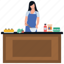 cooking area, healthy food, home kitchen, homemade food, preparing food icon