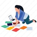designer, making assignment, making notes, selecting color scheme, woking girl icon