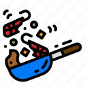 cook, cooking, frying, pan, food