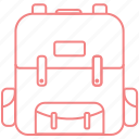 backpack, education, learn, outline, study icon