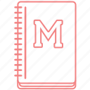 college, education, notebook, outline, study icon
