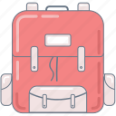 backpack, college, education, pink, school, study icon