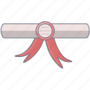 award, college, diploma, pink icon