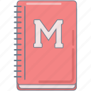 college, homework, notebook, pink, study icon