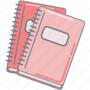 notebooks, pink, school, study icon