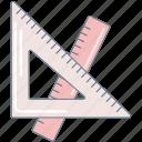maths, pink, ruler, set square