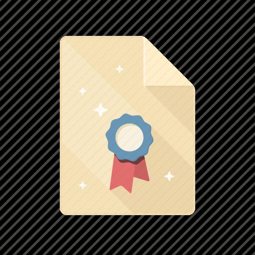 certificate, diploma, patent, prize, reward, testimonial, tribute icon