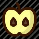 apple, food, fruit, slice, teacher icon