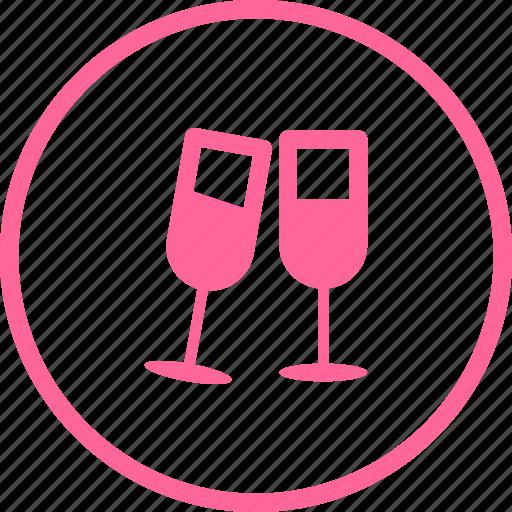celebration, champagne, drink, glasses, holidays icon