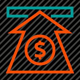 arrow, dollar, finance, money, up, value icon