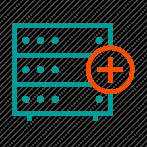 add, database, new, plus, server, storage icon