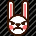 angry, animal, easter, emoji, emoticon, hare, rabbit icon