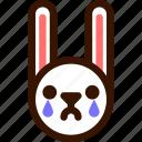 animal, cry, easter, emoji, emoticon, hare, rabbit icon