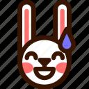 animal, easter, embarrased, emoji, emoticon, hare, rabbit icon