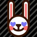 animal, easter, emoji, emoticon, hare, love, rabbit icon