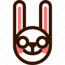 animal, easter, emoji, emoticon, hare, nerd, rabbit icon