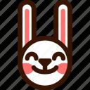 animal, easter, emoji, emoticon, hare, rabbit, satisfied icon