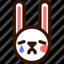 animal, easter, emoji, emoticon, hare, rabbit, tear icon