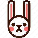 animal, easter, emoji, emoticon, hare, rabbit, upset icon