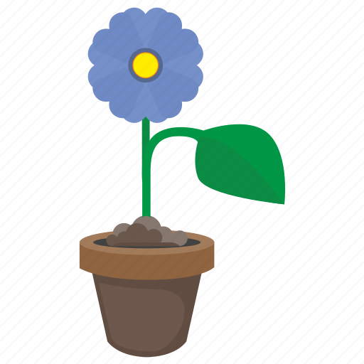 blue, bud, flower, grow, plant icon