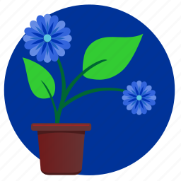 blue, flower, home, plant icon