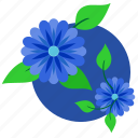 blue, flowers, green, leaves, plant icon