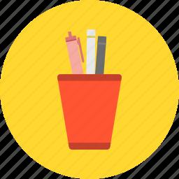 ballpoint, desk, office work, pen, pencil, pencil vase, study icon