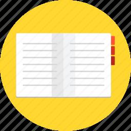 book, bookmark, memo, note, notebook, study icon