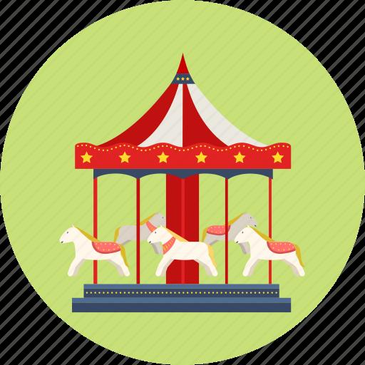 amusement park, break, children's day, holiday, merry-go-round, trip icon
