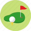 exercise, flag, golf, golf ball, golf course, grass, sport icon